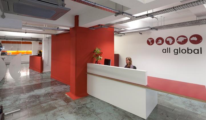 Industrial open plan office design - reception